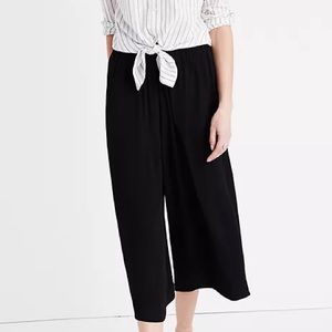 Madewell Black Wide Leg Cropped Pull On Pants